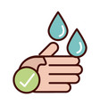 wash hands prevent spread covid-19 line vector image vector image