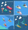 water sports people icon set vector image vector image