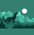 wolf in the night coniferous forest near the vector image vector image
