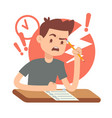 worried upset teen student on exam education and vector image