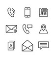 9 contact line icons vector image vector image