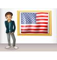 A framed flag of the USA beside a man vector image