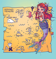 A Mermaid and Treasure Map vector image vector image