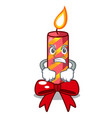 angry christmas candle combined with pita cartoon vector image vector image