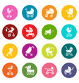 baby carriage icons set colorful circles vector image vector image