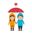 boy girl umbrella love vector image vector image