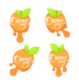bright sticker emblem and logo for orange citrus vector image vector image