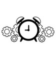 business alarm clock and gears vector image vector image