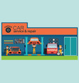 car service and repair center or garage with vector image vector image
