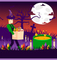character man sorcerer night graveyard vector image