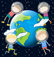 Children floating in the space vector image