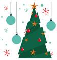 christmas pine tree balls and snowflake vector image vector image