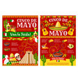 cinco de mayo banner for mexican holiday party vector image vector image