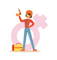 confident woman in orange helmet holding a drill vector image vector image