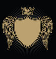 crown shield with wings vintage vector image