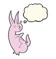 cue cartoon rabbit with thought bubble vector image vector image