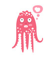 cute cartoon pink octopus character dreaming vector image vector image