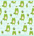 cute cartoon striped pattern with crocodiles vector image vector image