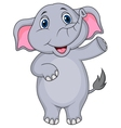 Cute elephant cartoon waving hand vector image vector image