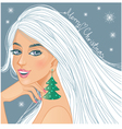 Cute fantasy girl with Christmas greetings vector image vector image