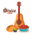 delicious mexican food with guitar vector image vector image