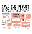 eco style collection zero waste reusable items vector image