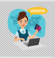 employee of company prepares visas for immigrants vector image vector image