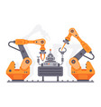 flat auto robots factory electronic assembly of vector image vector image