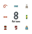 flat icon meal set of sack fizzy drink kielbasa vector image vector image