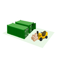 Forklift Loading Shipping Boxes into Container vector image