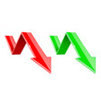 green and red 3d down arrows financial graph vector image vector image