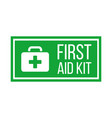 green first aid kit label or sign medical box vector image