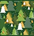 green geometric christmas tree seamless pattern vector image