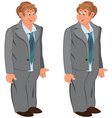 Happy cartoon man standing in gray suit and green vector image