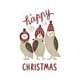 Happy Christmas card three cute owls vector image vector image