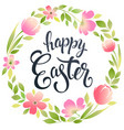 happy easter typography background with wreath vector image