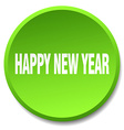 happy new year green round flat isolated push vector image vector image