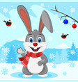 hare in the scarf on the background of winter vector image