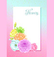 invitation card with decorative delicate flowers vector image vector image