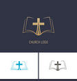 logo of the church christian symbols a book with vector image vector image