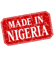 made in Nigeria red square grunge stamp vector image vector image