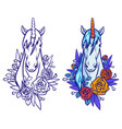 magical cute unicorn cartoon fantasy vector image vector image