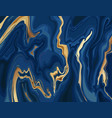marbled blue and gold abstract background texture vector image