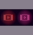 neon cinema film in red and pink color vector image
