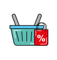 online shopping basket market commerce discount vector image vector image