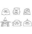 outlined halloween faces vector image vector image