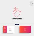 rabbit or bunny love animal line art style logo vector image vector image