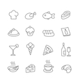 Restaurant line icons set Pizza and ice vector image vector image