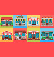restaurants and shops facades old shop building vector image vector image