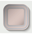 Rounded square plate with ornament stylized the vector image vector image